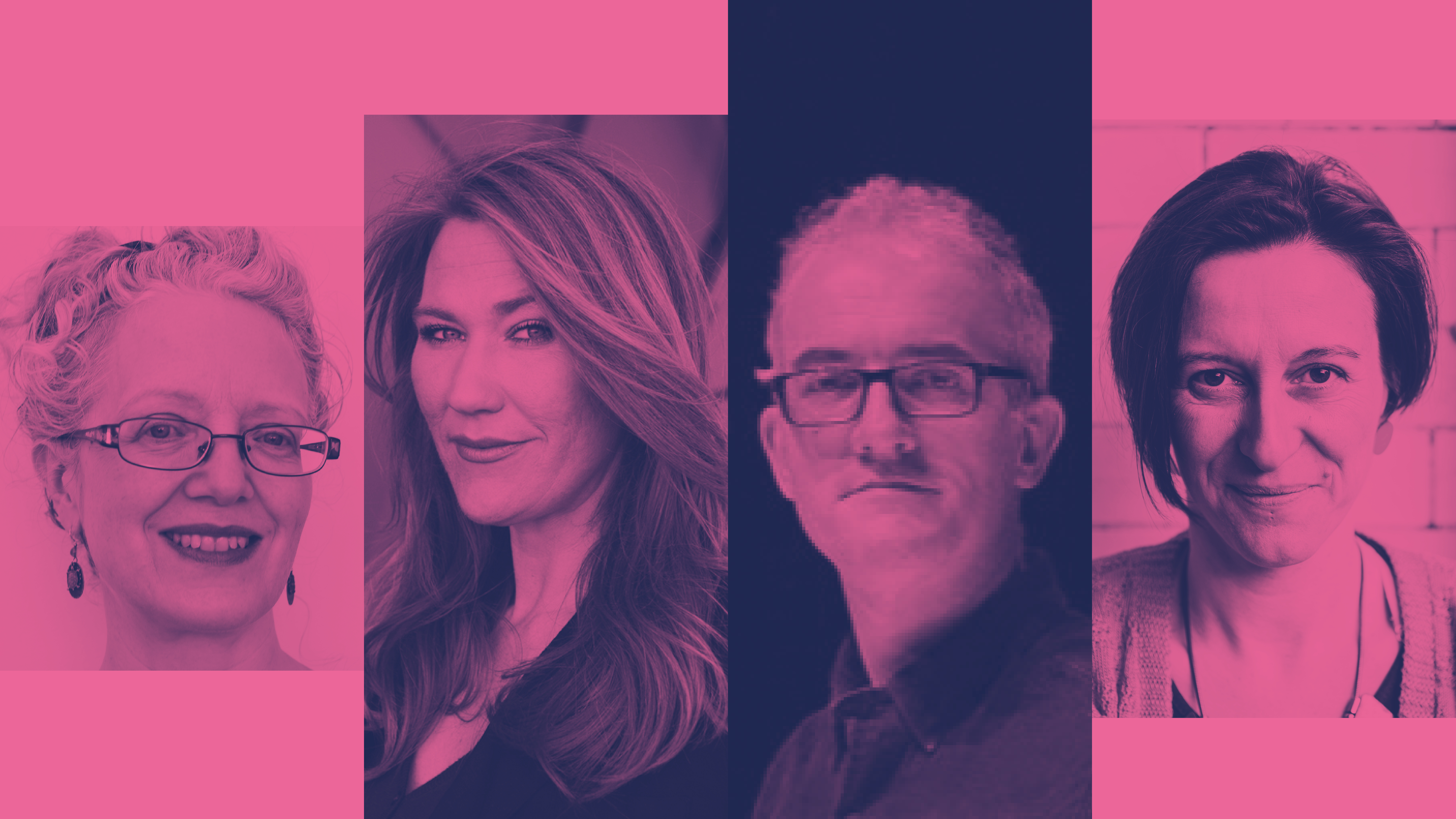 Pink duotone composite image of the panel - Evelyn Ficarra, Elizabeth Jochum, Tim Hopkins and Janine Fletcher