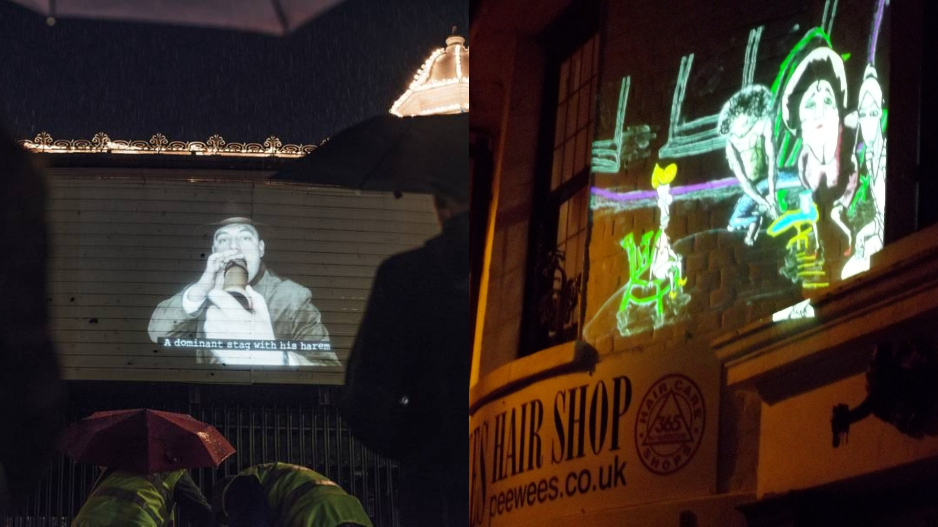 Left: A man is projected onto the side of Brighton pier, on the right an animation is projected onto PeeWee's hairdressers.